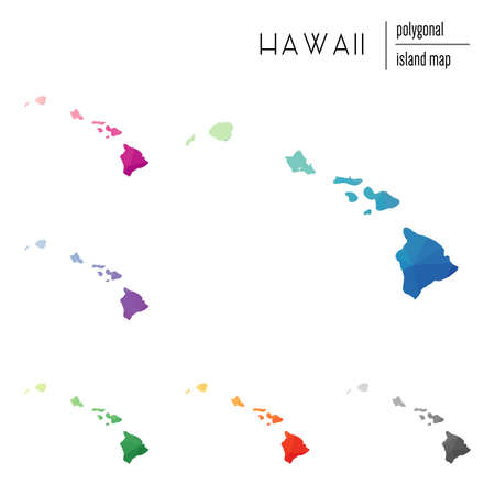 Set of vector polygonal Hawaii maps filled with bright gradient of low poly art. Multicolored island outline in geometric style for your infographics. Çizim