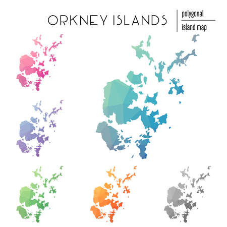 Set of vector polygonal Orkney Islands maps filled with bright gradient of low poly art. Multicolored island outline in geometric style for your infographics.
