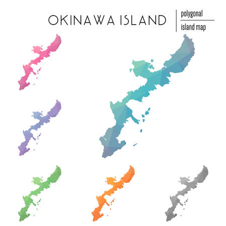 Set of vector polygonal Okinawa Island maps filled with bright gradient of low poly art. Multicolored island outline in geometric style for your infographics. Ilustração