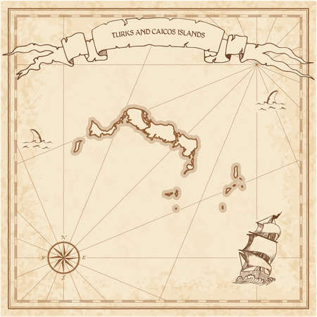 Turks and Caicos Islands old treasure map. Sepia engraved template of pirate island parchment. Stylized manuscript on vintage paper. Vettoriali