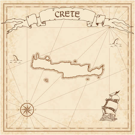 Crete old treasure map. Sepia engraved template of pirate island parchment. Stylized manuscript on vintage paper. Illustration