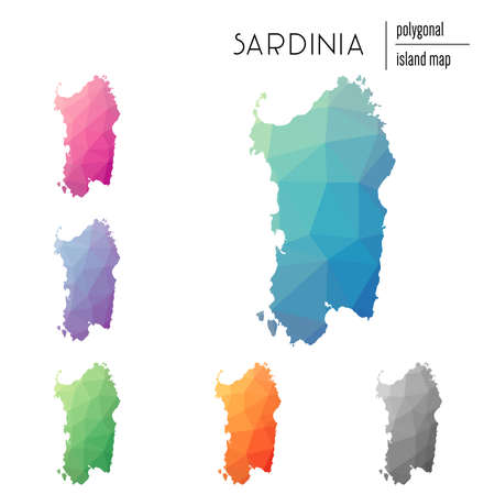Set of vector polygonal Sardinia maps filled with bright gradient of low poly art. Multicolored island outline in geometric style for your infographics.  イラスト・ベクター素材