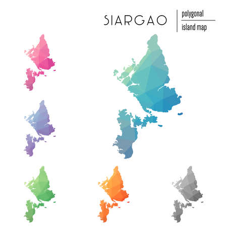 Set of vector polygonal Siargao maps filled with bright gradient of low poly art. Multicolored island outline in geometric style for your infographics.