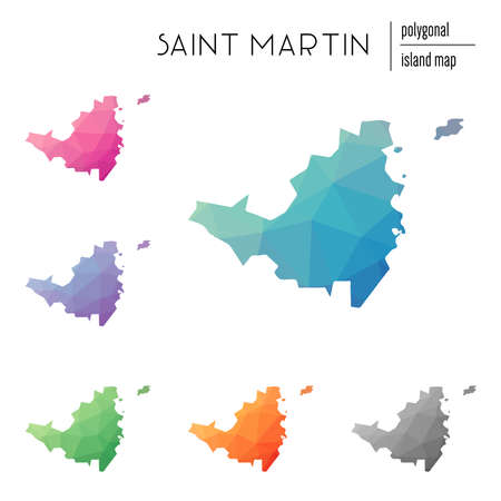 Set of vector polygonal Saint Martin maps filled with bright gradient of low poly art. Multicolored island outline in geometric style for your infographics.