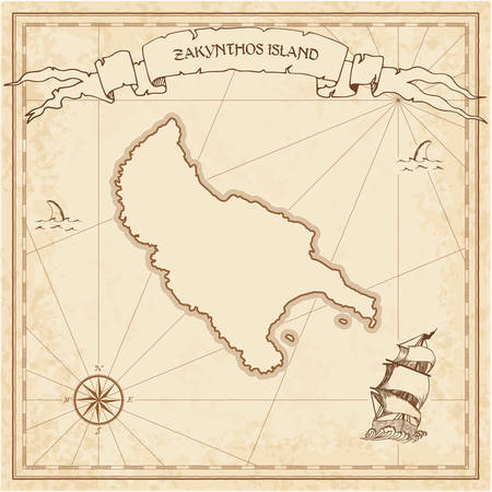 Zakynthos Island old treasure map. Sepia engraved template of pirate island parchment. Stylized manuscript on vintage paper. Vettoriali