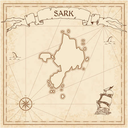 Sark old treasure map. Sepia engraved template of pirate island parchment. Stylized manuscript on vintage paper. Illustration