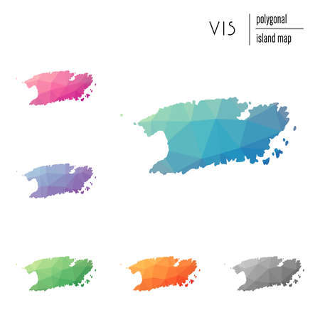 Set of vector polygonal Vis maps filled with bright gradient of low poly art. Multicolored island outline in geometric style for your infographics.