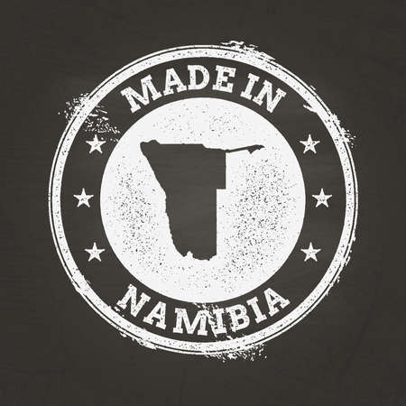 White chalk texture made in stamp with Republic of Namibia map on a school blackboard. Grunge rubber seal with country map outline, vector illustration. Stock Illustratie