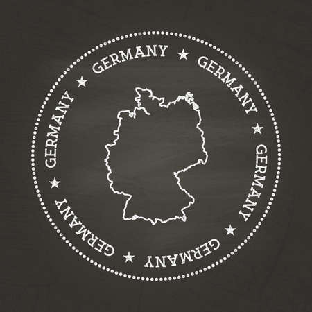 White chalk texture vintage seal with Federal Republic of Germany map on a school blackboard. Grunge rubber seal with country map outline, vector illustration. Illusztráció