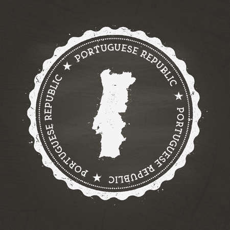 White chalk texture rubber stamp with Portuguese Republic map on a school blackboard in a grunge rubber seal with country map outline.