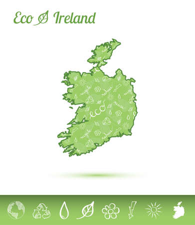 Ireland eco map filled with green pattern. Green counrty map with ecology concept design elements. Vector illustration. Illustration