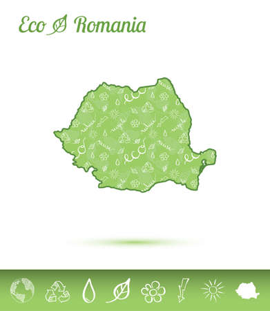 Romania eco map filled with green pattern. Green counrty map with ecology concept design elements. Vector illustration. Archivio Fotografico - 99708914