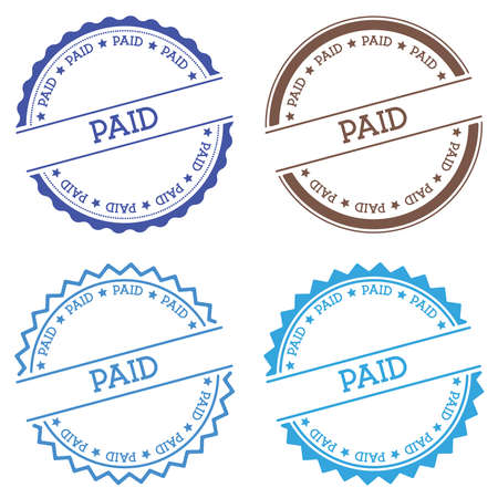 Paid badge isolated on white background. Flat style round label with text. Circular emblem vector illustration. Ilustrace