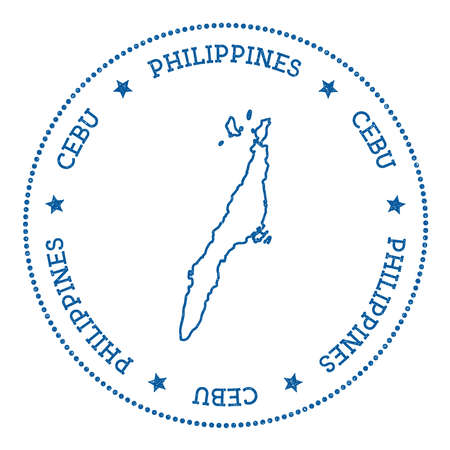 Cebu map sticker. Hipster and retro style badge. Minimalistic insignia with round dots border. Island vector illustration.