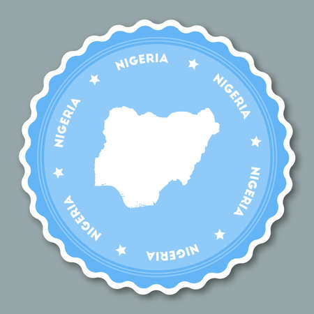 Nigeria sticker flat design. Round flat style badges of trendy colors with country map and name. Country sticker vector illustration.