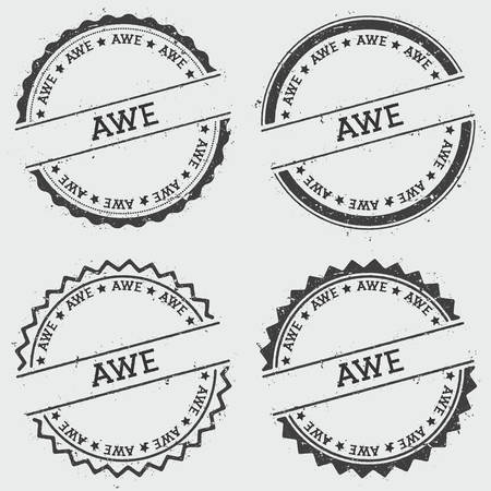 AWE insignia stamp isolated on white background. Grunge round hipster seal with text, ink texture and splatter and blots, vector illustration.
