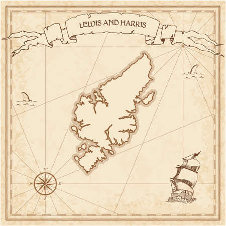 Lewis and Harris old treasure map. Sepia engraved template of pirate island parchment. Stylized manuscript on vintage paper. Иллюстрация