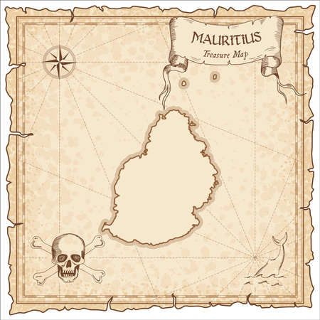 Mauritius old pirate map. Sepia engraved parchment template of treasure island. Stylized manuscript on vintage paper.