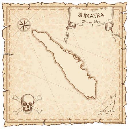 Vecchia illustrazione della mappa di pirata di Sumatra