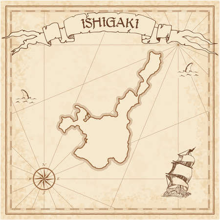 Ishigaki old treasure map. Sepia engraved template of pirate island parchment. Stylized manuscript on vintage paper.
