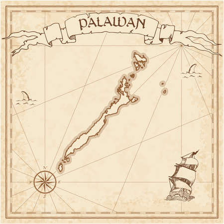 Palawan old treasure map. Sepia engraved template of pirate island parchment. Stylized manuscript on vintage paper.