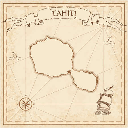 Tahiti old treasure map. Sepia engraved template of pirate island parchment. Stylized manuscript on vintage paper. Stock Illustratie