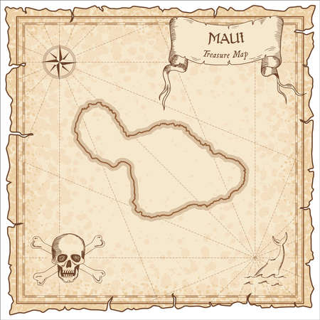 Maui old pirate map. Sepia engraved parchment template of treasure island. Stylized manuscript on vintage paper.