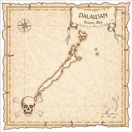 Palawan old pirate map. Sepia engraved parchment template of treasure island. Stylized manuscript on vintage paper.