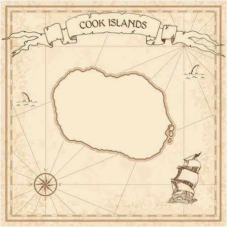 Cook Islands old treasure map. Sepia engraved template of pirate island parchment. Stylized manuscript on vintage paper.