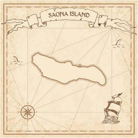Saona Island old treasure map. Sepia engraved template of pirate island parchment. Stylized manuscript on vintage paper.