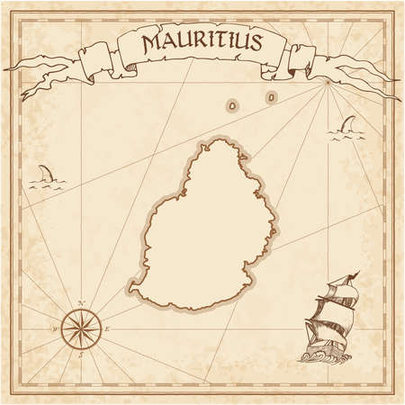 Mauritius old treasure map. Sepia engraved template of pirate island parchment. Stylized manuscript on vintage paper.