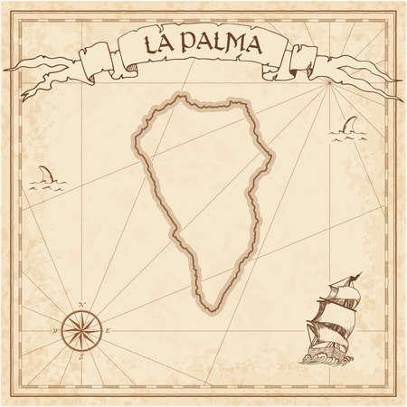La Palma old treasure map. Sepia engraved template of pirate island parchment. Stylized manuscript on vintage paper. Ilustração