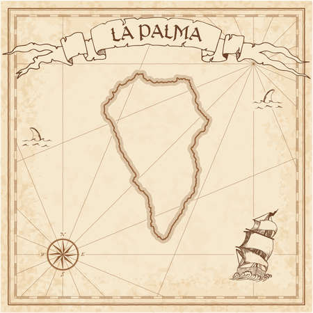 La Palma old treasure map. Sepia engraved template of pirate island parchment. Stylized manuscript on vintage paper. Illustration