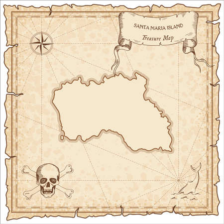 Santa Maria Island old pirate map. Sepia engraved parchment template of treasure island. Stylized manuscript on vintage paper.