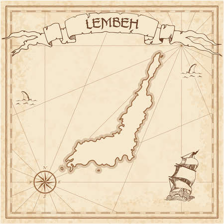 Lembeh old treasure map. Sepia engraved template of pirate island parchment. Stylized manuscript on vintage paper. Illustration