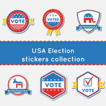 USA Election stickers set. Buttons collection for USA presidential elections 2016. Pack of blue and red patriotic badges. Round lables vector illustration.