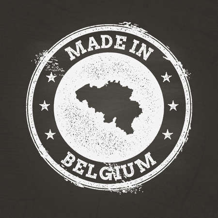 White chalk texture made in stamp with Kingdom of Belgium map on a school blackboard. Grunge rubber seal with country map outline, vector illustration.