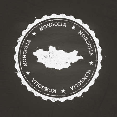 White chalk texture rubber stamp with Mongolia map on a school blackboard. Grunge rubber seal with country map outline, vector illustration. Stock Illustratie