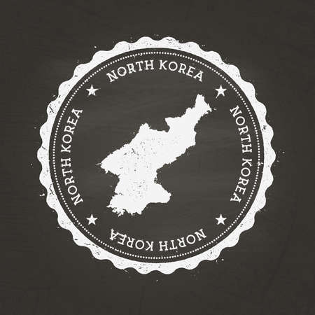 White chalk texture rubber stamp with Democratic People's Republic of Korea map on a school blackboard. Grunge rubber seal with country map outline, vector illustration.