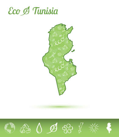 Tunisia eco map filled with green pattern. Green counrty map with ecology concept design elements. Vector illustration. 向量圖像