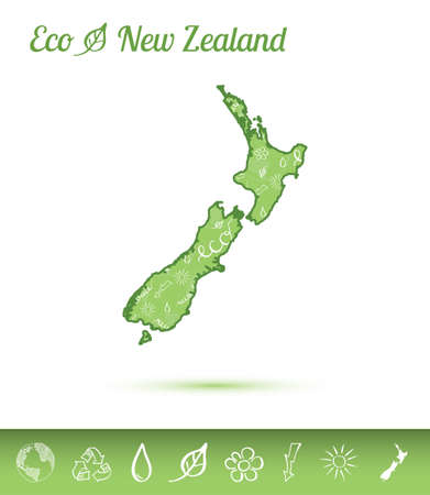 New Zealand eco map filled with green pattern. Green counrty map with ecology concept design elements. Vector illustration.