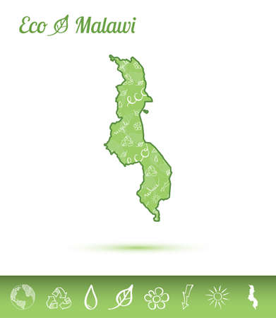 Malawi eco map filled with green pattern. Green counrty map with ecology concept design elements. Vector illustration.