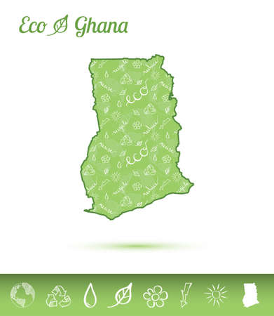 Ghana eco map filled with green pattern.