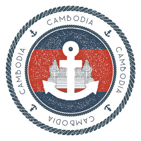 Nautical Travel Stamp with Cambodia Flag and Anchor. Marine rubber stamp, with round rope border and anchor symbol on flag background. Vector illustration. Çizim