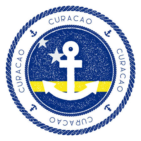Nautical Travel Stamp with Curacao Flag and Anchor. Marine rubber stamp, with round rope border and anchor symbol on flag background. Vector illustration. Stockfoto - 99729861