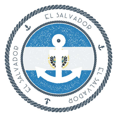 Nautical travel stamp with El Salvador flag and anchor. Marine rubber stamp, with round rope border and anchor symbol on flag background vector illustration.
