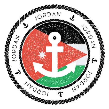 Nautische reizen stempel met Jordan vlag en anker. Mariene rubberzegel, met ronde touwgrens en ankersymbool op vlagachtergrond. Vector illustratie Stock Illustratie