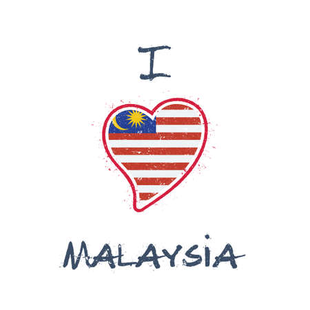 Malaysian flag patriotic t-shirt design. Heart shaped national flag Malaysia on white background. Vector illustration.