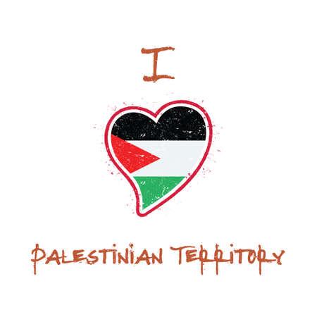 Palestinian flag patriotic t-shirt design. Heart shaped national flag Palestine, State of on white background. Vector illustration. Stock Illustratie
