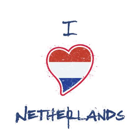 Dutch flag patriotic t-shirt design. Heart shaped national flag Netherlands on white background. Vector illustration. Illustration